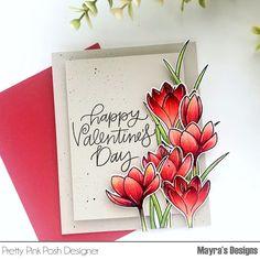Mayras Designs: Valentine Flowers with Pretty Pink Posh. Kinder Valentines, Valentines Gifts For Boyfriend, Valentine Day Cards, Happy Valentines Day, Valentine Ideas, Flower Stamp, Flower Cards, Pretty In Pink, Flower Quotes Inspirational