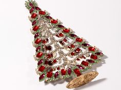 "12.5"" Vintage Czech handmade table top glass rhinestone Christmas tree Husar.D #HandmadeChristmastreeornament"