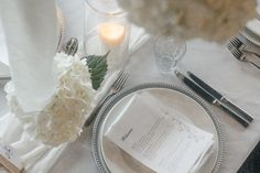 We created a beautiful wedding styling using only white hydrangeas, candles and linen. This created the perfect romantic style for a summer wedding reception. Wedding Shoot, Wedding Reception, Our Wedding, Dream Wedding, Romantic Look, Romantic Dinners, Large Candles, Pillar Candles, Silver Charger Plates
