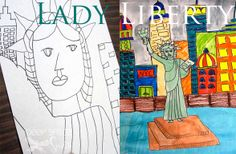 The Statue of Liberty is a great subject for teaching art techniques; watercolor, collage, tempera, marker…pick any medium and the project will turn out great. The drawing itself is quite simple, especially if you stick to the head and shoulders. You can read my basic instructions here. For this lesson, I panned out and asked my students to draw the entire length of the statue, complete with a city scene in the background.
