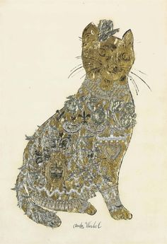 Untitled [Cat] (gold leaf, plastic appliqué collage and ink on paper mounted on board, c.1955) – Andy Warhol (1928–87)