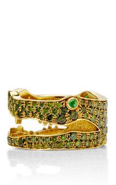 18K Yellow Gold And Green Diamond Crocodile Ring by Marc Alary - Moda Operandi