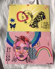 Indie Drawings, Art Drawings Sketches, Posca Art, Art Diary, Arte Sketchbook, Funky Art, Wow Art, Hippie Art, Sketchbook Inspiration