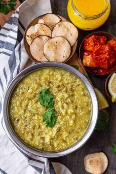 Punjabi Khichdi  - a savory Indian porridge that is best served with ghee, spicy pickle and crispy papadum #indianfood #khichdi #dalkhichdi #glutenfreerecipe #instantpotrecipe #onepotmeal #punjabifood #northindianfood #veganindianfood #vegetarianindianfood