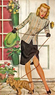 This motif of a dog on a leash causing the skirt to rise is very common for pinup art. However, this lady appeared in an ad for Ivory Snow soap in 1946.