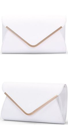 Chichitop Leather Evening Envelope Clutches Bag with Drop-in Chain Shoulder Strap for Women 2016 New Handbags Shoulder Bags,White