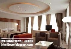 Modern pop false ceiling designs for bedroom interior, gypsum false ceiling