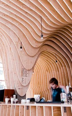 A Cafe Constructed Entirely Of Plywood Ribs