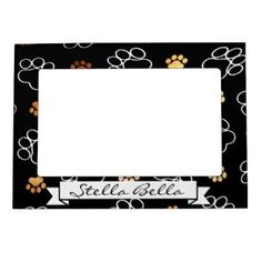 #Paw Print Black Dog Cat Pet Picture Frame Name - #Petgifts #Pet #Gifts #giftideas #giftidea #petlovers