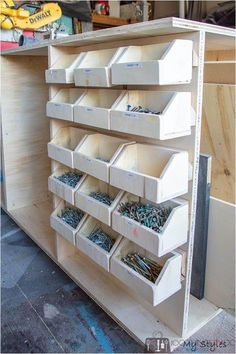 Get your workshop organized without breaking the bank by making your own DIY workbench storage bins to house small parts and hardware better still, attach them with a french cleat system for easy removal and return. bolt bins, screw storage, small parts