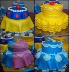 Princess Cakes! This is GENIUS! The 2-tiers are the perfect silhouette for the dresses. And the respective cake toppers! I am obsessed.
