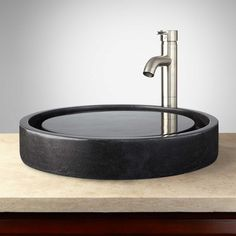 Round Polished Granite Infinity Vessel Sink ($402) ❤ liked on Polyvore featuring home, home improvement and plumbing