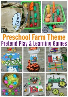 Preschool Farm Theme - Planning Playtime Dinosaur Theme Preschool, Farm Animals Preschool, Summer Preschool Activities, Farm Activities, Educational Activities, Preschool Farm Crafts, Farm Animals Games, Farm Games, Numbers Preschool