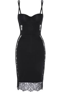 La perla Shape Allure Lacetrimmed Stretchjersey Slip in Black Mode Outfits, Fashion Outfits, Womens Fashion, Look Fashion, Fashion Beauty, Dress Skirt, Dress Up, Lace Dress, Cutout Dress