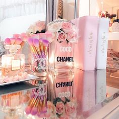 Chanel Fragrance at Neiman Marcus Makeup Room Decor, Makeup Rooms, Aesthetic Room Decor, Pink Aesthetic, Room Ideas Bedroom, Bedroom Decor, Chanel Bedroom, Glamour Decor, Chanel Decor