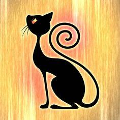 Black Cat Vintage Style Design Art Print
