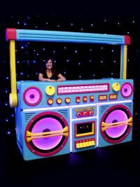 Giant Ghetto Blaster Prop With Lights - Neon Blue High quality Giant Ghetto Blaster Prop With Lights - Neon Blue available to hire. View Giant Ghetto Blaster Prop With Lights - Neon Blue details, dimensions and images. Hip Hop Party, 70s Party, Retro Party, Party Time, Deco Disco, 80s Birthday Parties, Theme Parties, Birthday Ideas, Party Fiesta