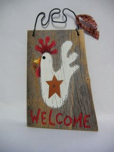 Barn Wood White Chicken Welcome Hand Painted by barbsheartstrokes,