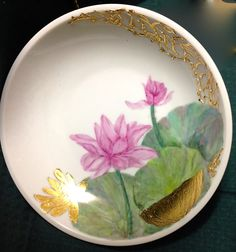 Jillian Varga Water lily with texture. Fabric Painting, Serving Bowls, Porcelain, Lily, Texture, Tableware, Water, Inspiration, Ideas