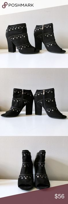 """Peep Toe Studded Booties Jessica Simpson Booties. Decorative zipper and stud embellishments add modern edge to an on-trend bootie with a flirty peep toe. 4"""" heel 5 1/2"""" boot shaft. Side zip closer.  In excellent condition!! Jessica Simpson Shoes Ankle Boots & Booties"""