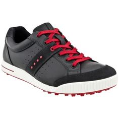Ecco Street Golf Cleats Mens Black Leather - ONLY $150.00 Golf Cleats, Sock Shoes, Comfortable Shoes, Oxford, Black Leather, Street, My Style, Sneakers, Sandbox
