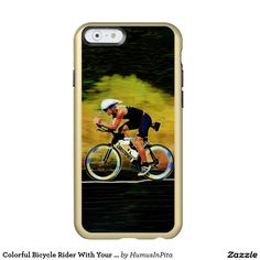 Colorful Bicycle Rider With Your Personal Name Incipio Feather® Shine iPhone 6 Case