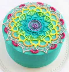 Next Birthday Cake lololol rainbow mandala cake Más Fancy Cakes, Cute Cakes, Pretty Cakes, Beautiful Cakes, Amazing Cakes, Mandala Cake, Super Torte, Beaux Desserts, Decoration Patisserie