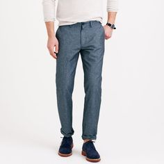 Irish linen chino in 770 urban slim fit ($80) via Polyvore featuring pants, slim fit linen pants, zip pants, chinos pants, slim fit pants and lightweight pants