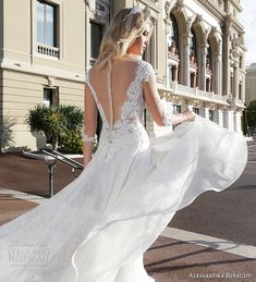 alessandra rinaudo 2017 bridal three quarter sleeves illusion boat plunging v…
