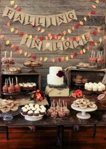 Good idea for the theme for a wedding shower, bridal shower, engagement party, etc. I thought some of this was cute for fall wedding/shower Wedding Reception, Our Wedding, Dream Wedding, Wedding Rustic, Sweet Table Wedding, Wedding App, Wedding Burlap, Private Wedding, Bridal Table
