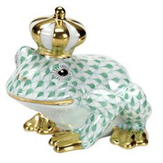 "Herend Hand Painted Porcelain Figurine ""Frog Prince"" Green Fishnet Gold Accents."