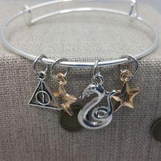 Harry Potter Slytherin Inspired Charm Bracelet Bangle Silver Tone Copper