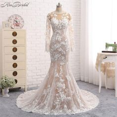 New Mermaid Long Wedding Dress 2018 O-Neck Long Sleeves Court Train Appliques Tulle Wedding Gowns Vestido de noiva sereia  #mermaidbridalgowns #beachweddingdresses #vintageweddingdresses #mermaidweddinggowns #weddingdresses #bridalgowns