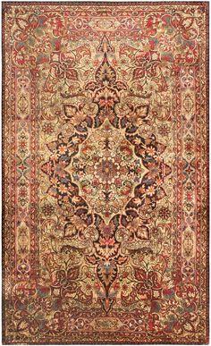 Antique Silk Kerman Persian Rug
