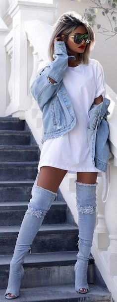 #winter #outfits white short with blue denim jacket and blue distress denim knee-high boots