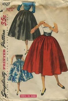 Vintage Circle Skirt Sewing Pattern | Simplicity 4927 | Year 1954 | Bust n/a | Waist 24 | Hip 33