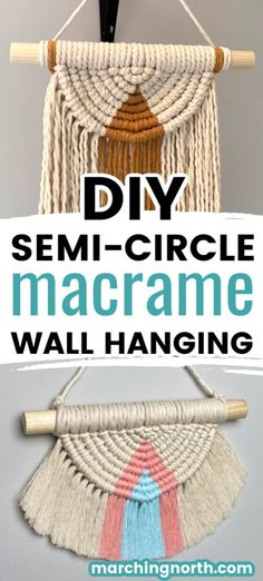 Learn how to make a beautiful semi circle DIY macrame wall hanging in this step by step tutorial (+ video!) Add some boho vibes to your home today! Macrame Projects, Diy Craft Projects, Craft Ideas, Free Macrame Patterns, Macrame Wall Hanging Patterns, Rope Crafts, Macrame Tutorial, Bracelet Tutorial, Macrame Design