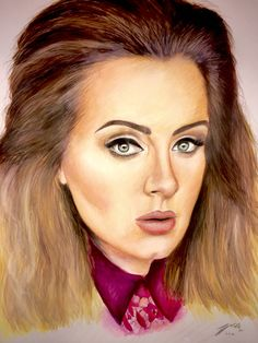 Adele - Watercolour paint and pencil, 2016, Victoria Mead   www.vmportraits.co.uk  #adele #portrait #artist