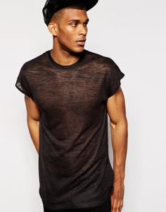 ASOS Longline T-Shirt With Stepped Hem in Linen Mix