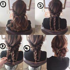 とっても簡単ギブソンタックアレンジ⭐︎ 2枚目プロセス載せてます☆ ①サイド(耳から前の毛)の毛を左右それぞれねじって後ろへ持っていき、後ろでゴムで結びます。 ②余った毛を3つに分けそれぞれを三つ編みします。 ③左の三つ編みから、①で作ったところに2回転通して、毛先をピンで留めます。 ④残りの2つもくるっと2回転巻きつけてピンで留めて、あとはバランスよく引っ張り出して完成♫ ★ ★ #セルフアレンジ #簡単アレンジ #アレンジヘア #可愛い#岐阜市美容室#アップスタイル #編み込み#ギブソンタック#ヘアカラー#インナーカラー#岐阜市#ヘアスタイル #おしゃれ #ヘアアレンジ#ファッション #ミディアムヘア#ボブアレンジ#セリーヌ#ユニクロ#髪型#ザラ#gu#ジーユー#ボブ#ヘアアクセ#ロカリヘア#ヘアアレンジ解説 #ロングヘア#くるりんぱ