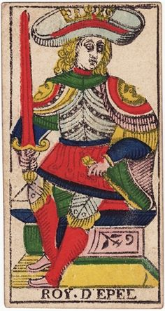 King of Swords: upright: A man of the law or robe, councillor, senator, business-man, doctor, judgment,A Lawyer, a Power, Command, Superiority, Authority. concessions, power, authority, command, militant intelligence, Reversed: Bad intentions, evil, perversity, perfidy, cruelty, Worry, Grief, Fear, Disturbance,A bad man; also a caution to put an end to a ruinous lawsuit./ Tarot of Marseille by Nicolas Conver, 1760 card interpretations by S.L. MacGregor Mathers, published in 1888.