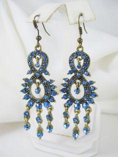 Vintage Rhinestone Earrings - Bleu FK153
