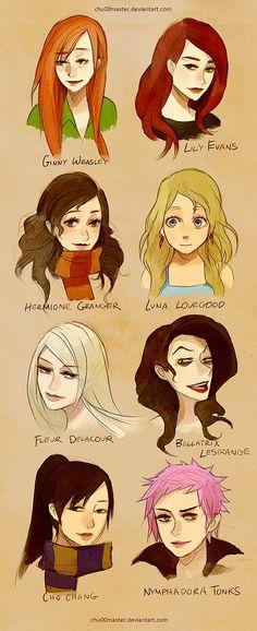 The Women of the Harry Potter book series - Ginny Weasley, Lily Evans, Hermione Granger, Luna Lovegood, Fleur Delacour, Bellatrix Lestrange, Cho Chang and Nymphadora Tonks.
