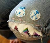 Mending knees in jeans--Monster Knees! I think I could do this with iron on!