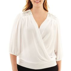 Alyx® 3/4-Sleeve Embellished Crossover Top - Plus  found at @JCPenney