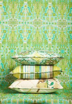 Mix and match green patterned fabric! Image: CalicoCorners.com