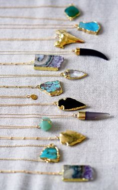 Stone and gem necklaces