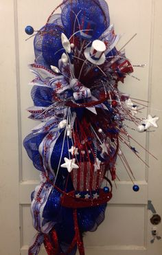 2015 4th of July deco mesh swag