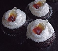 Jack and coke cupcake recipe... I will substitute the whiskey with rum for Captain and Coke cupcakes!