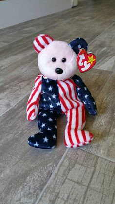 Spangle Bear Ty Beanie Baby Red White Blue Vintage Collectible 4th of July  Americana Patriotic Stars 693c74c1e0